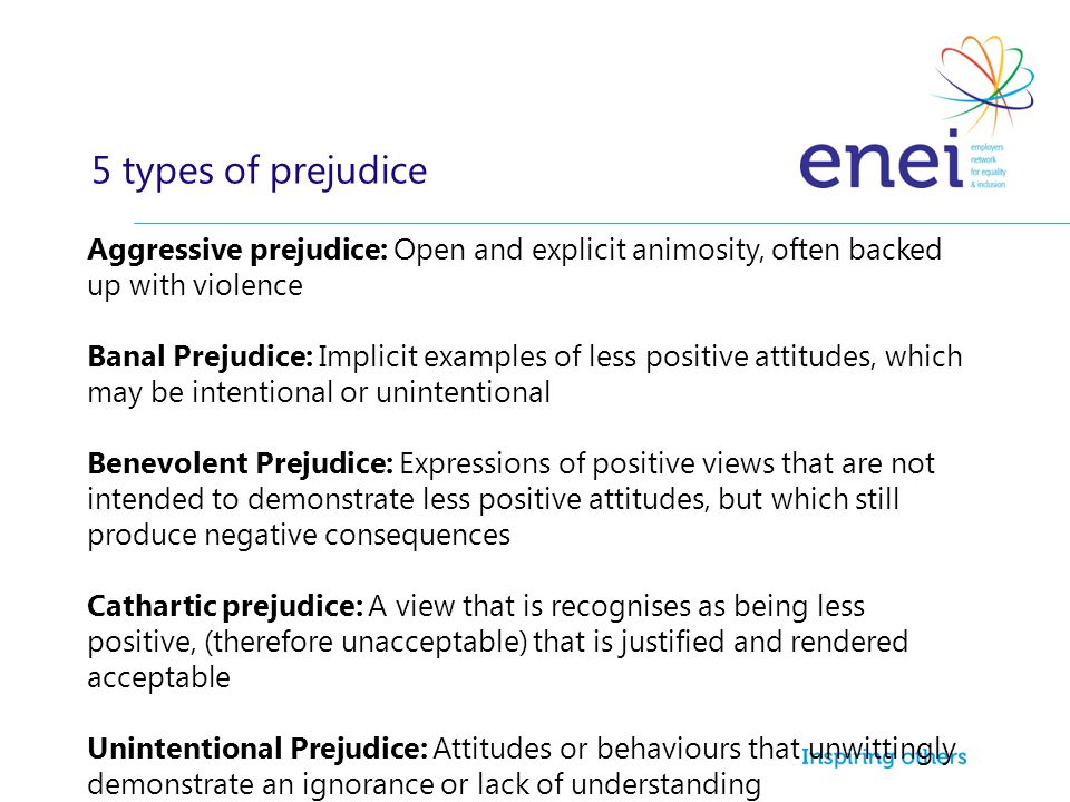 5 types of prejudice Aggressive prejudice: Open and explicit animosity, often backed up with violence.