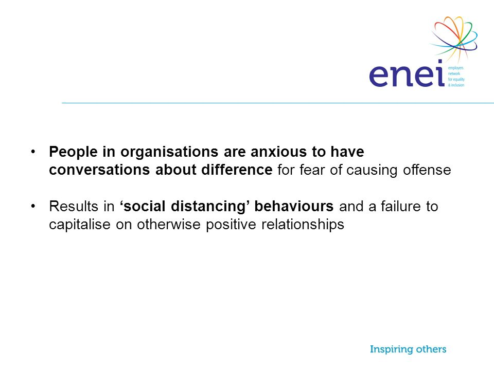 People in organisations are anxious to have conversations about difference for fear of causing offense