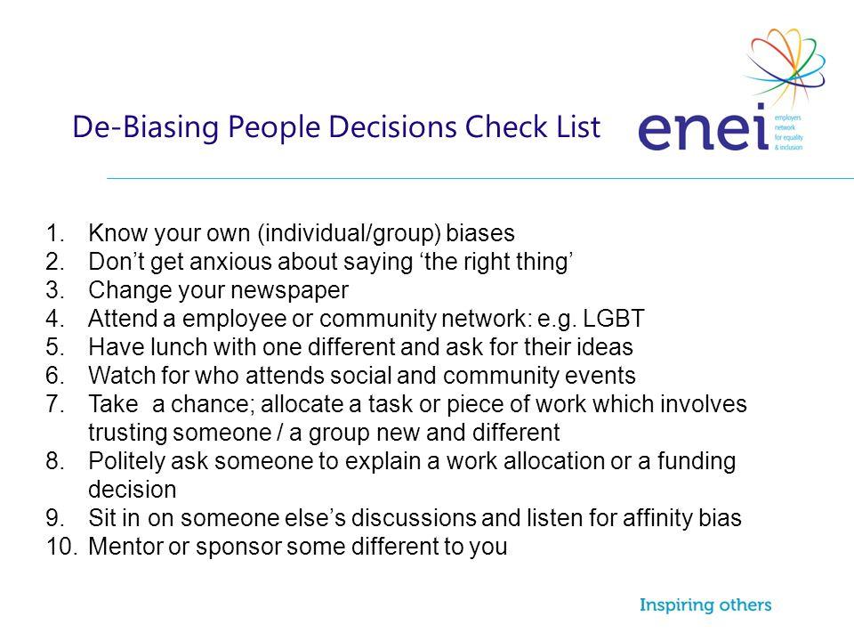 De-Biasing People Decisions Check List