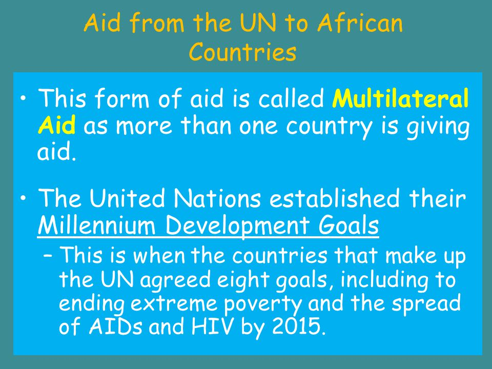 Aid from the UN to African Countries