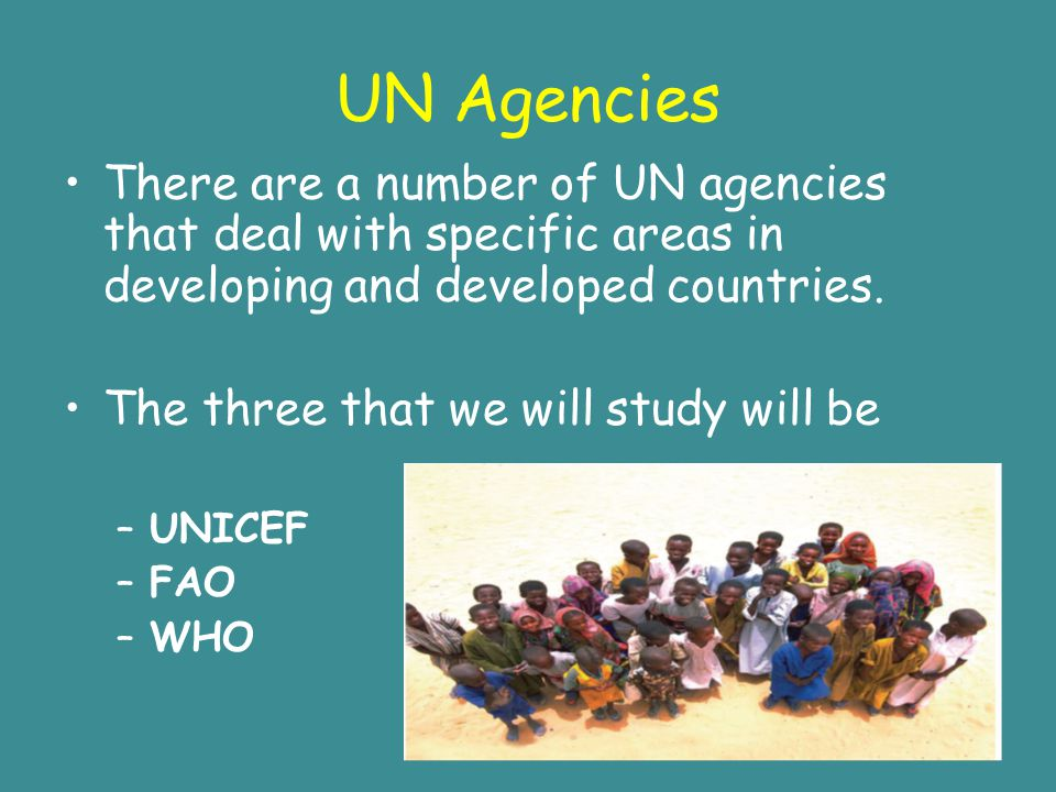 UN Agencies There are a number of UN agencies that deal with specific areas in developing and developed countries.