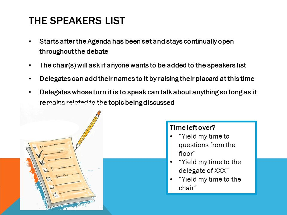 The speakers list Starts after the Agenda has been set and stays continually open throughout the debate.