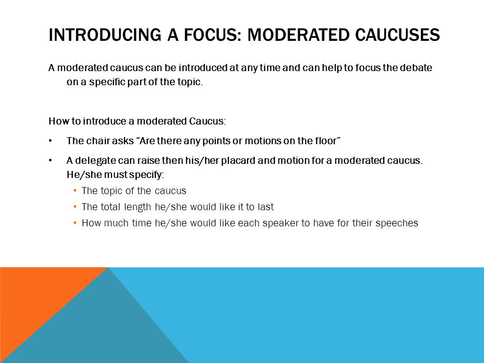 Introducing a focus: moderated caucuses