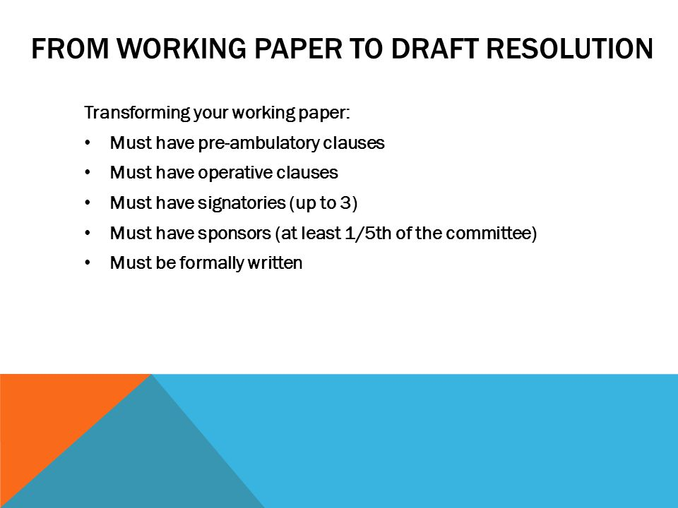 From working paper to draft resolution