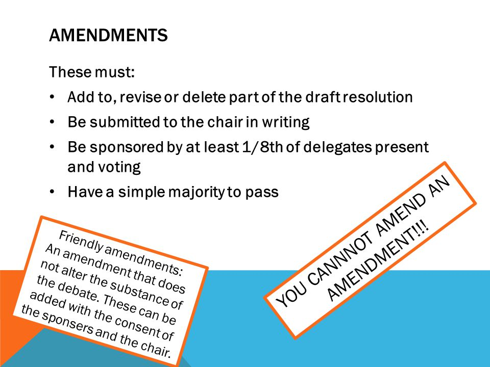 YOU CANNNOT AMEND AN AMENDMENT!!!