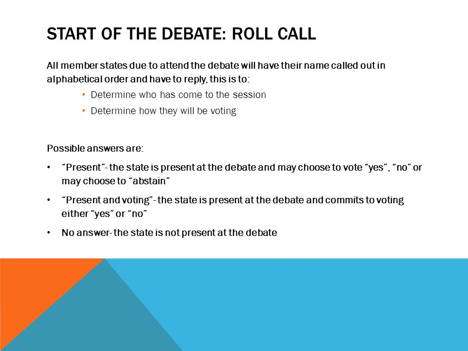 Start of the debate: rolL call