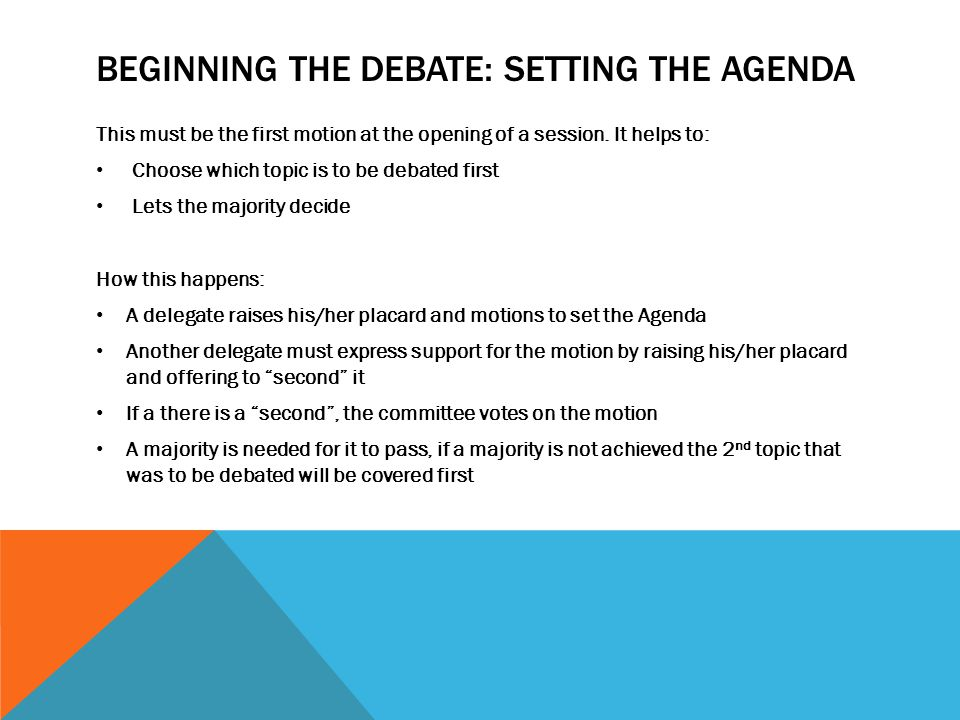 Beginning the debate: setting the agenda