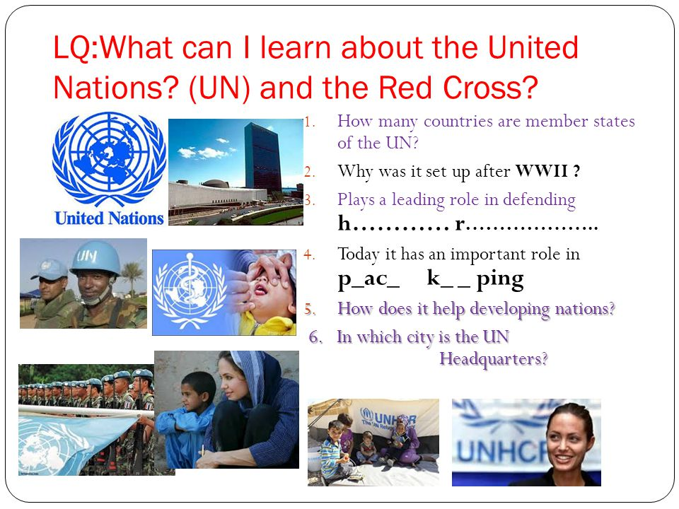 LQ:What can I learn about the United Nations (UN) and the Red Cross