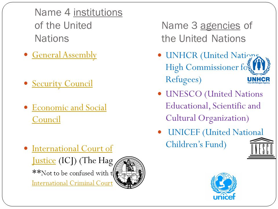 Name 4 institutions of the United Nations
