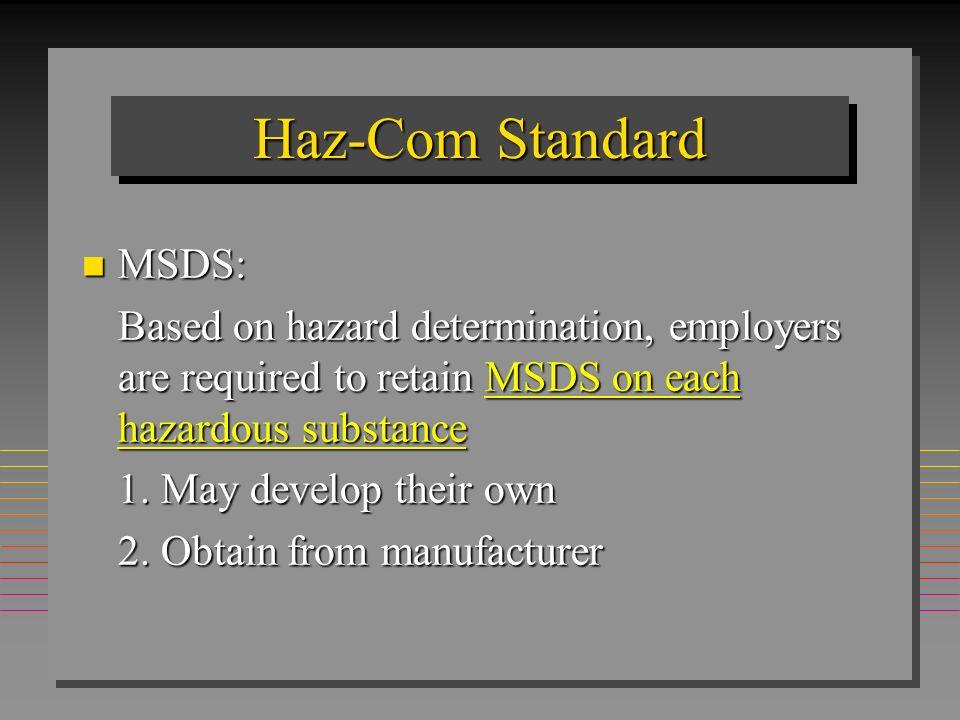 Haz-Com Standard MSDS: