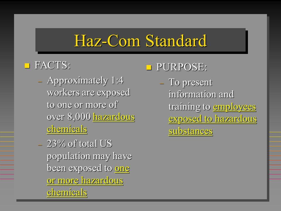 Haz-Com Standard FACTS: PURPOSE:
