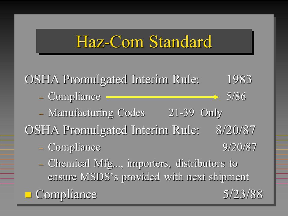 Haz-Com Standard OSHA Promulgated Interim Rule: 1983