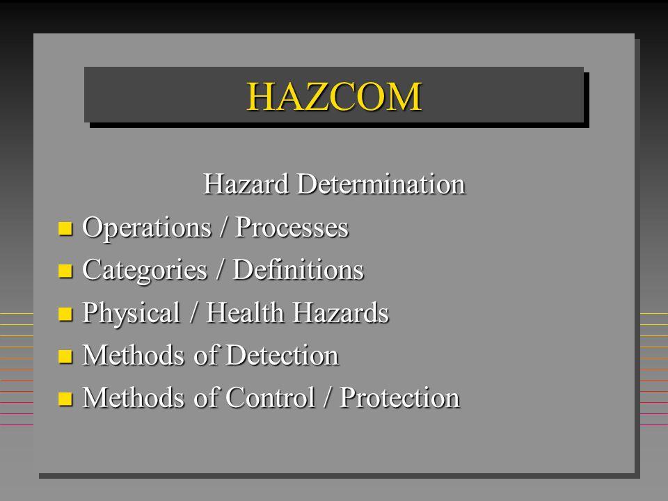 HAZCOM Hazard Determination Operations / Processes