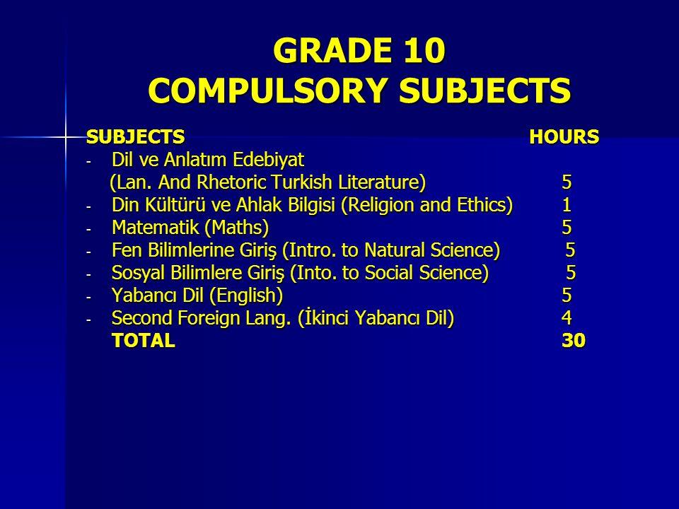 GRADE 10 COMPULSORY SUBJECTS