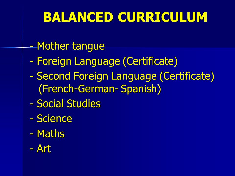 BALANCED CURRICULUM - Mother tangue - Foreign Language (Certificate)