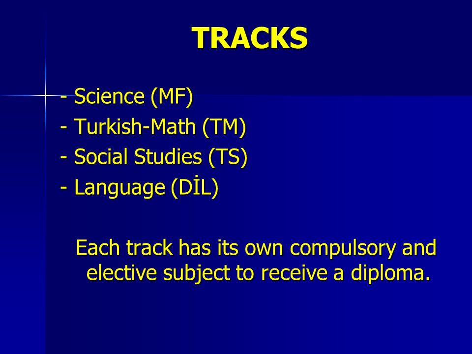 TRACKS - Science (MF) - Turkish-Math (TM) - Social Studies (TS)
