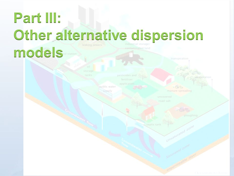 Part III: Other alternative dispersion models