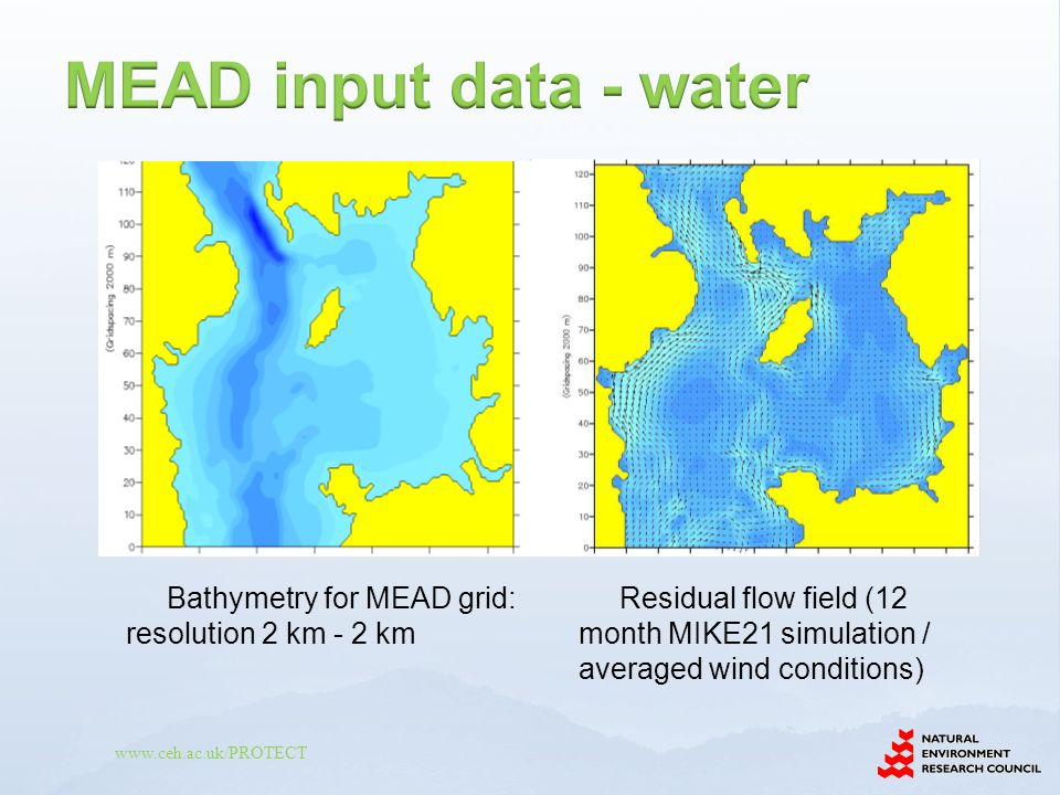MEAD input data - water Bathymetry for MEAD grid: resolution 2 km - 2 km.