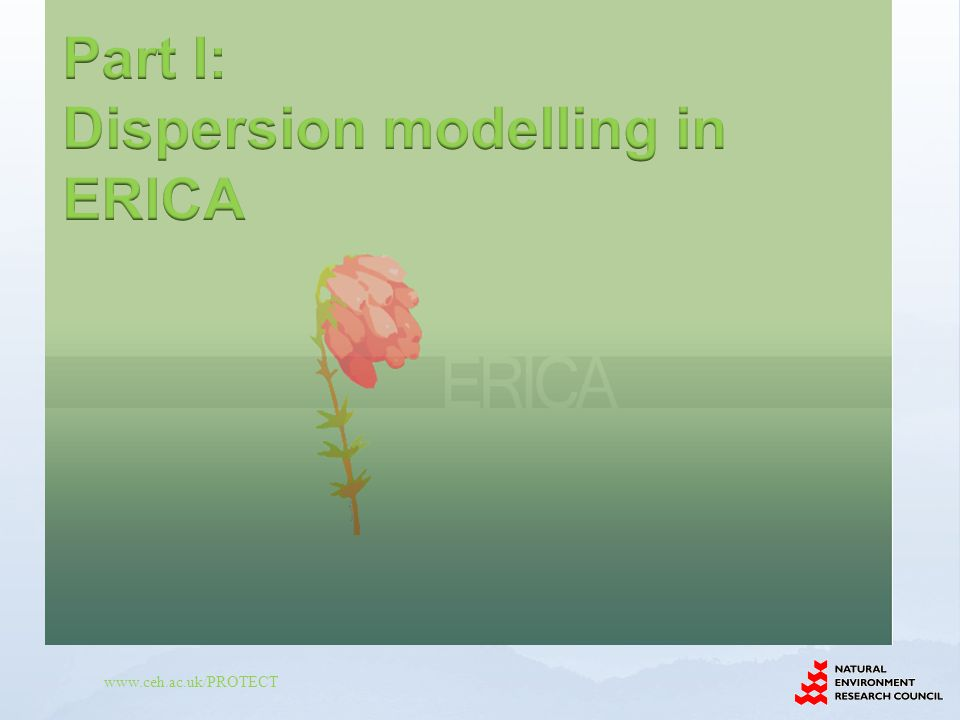 Part I: Dispersion modelling in ERICA