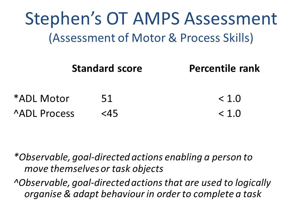 Stephen's OT AMPS Assessment (Assessment of Motor & Process Skills)