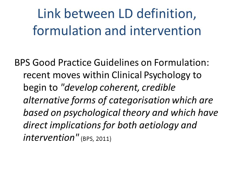 Link between LD definition, formulation and intervention