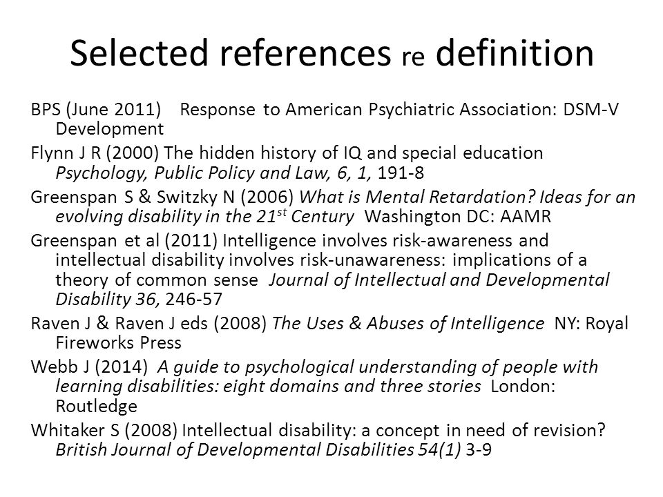 Selected references re definition