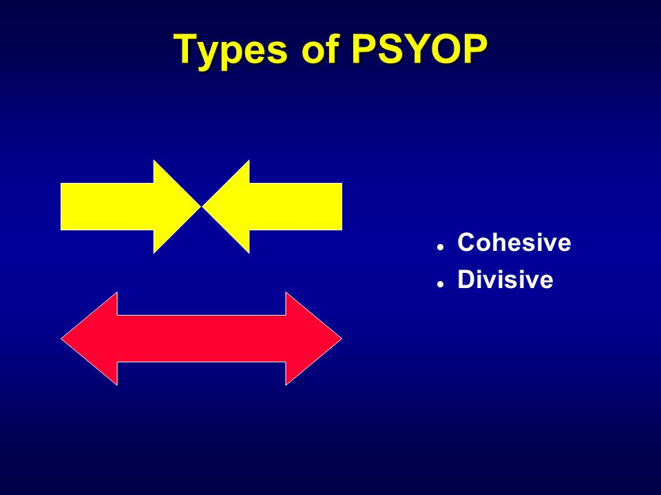 Types of PSYOP Cohesive Divisive