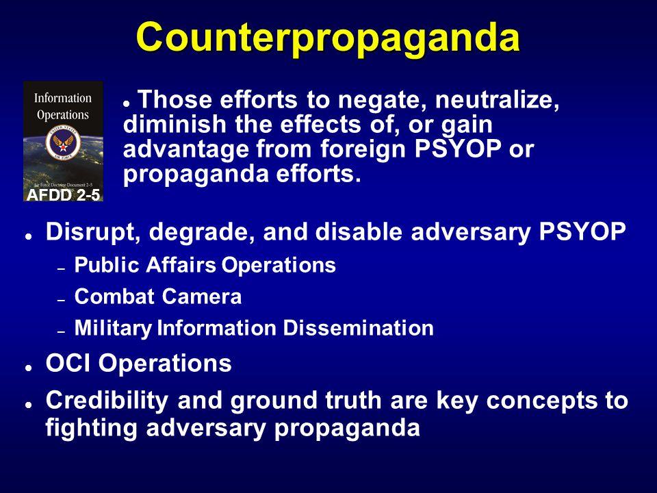 IW 110 PSYOP Notetaker Counterpropaganda. AFDD 2-5.