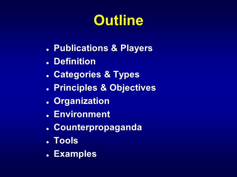 Outline Publications & Players Definition Categories & Types