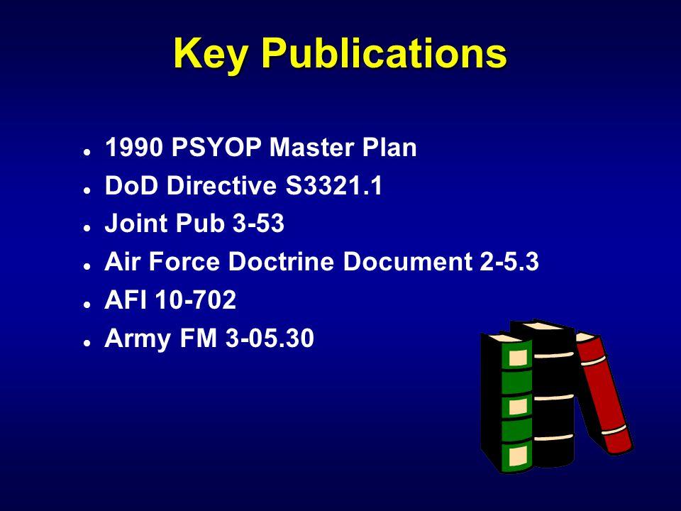 Key Publications 1990 PSYOP Master Plan DoD Directive S3321.1