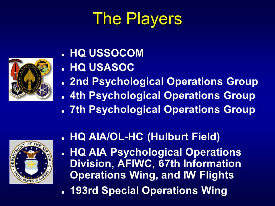 The Players HQ USSOCOM HQ USASOC 2nd Psychological Operations Group