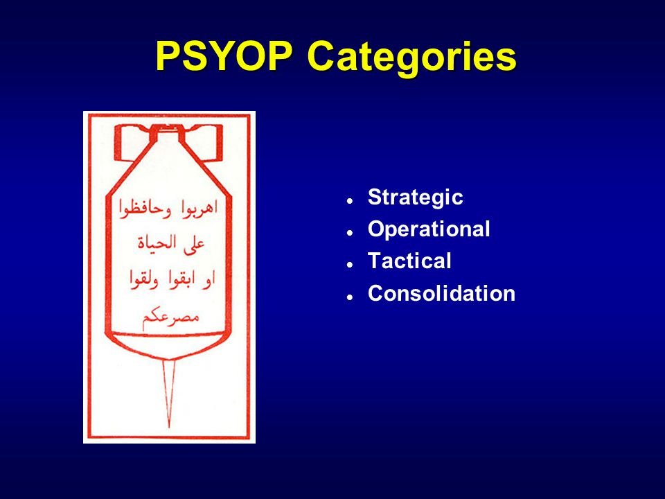 PSYOP Categories Strategic Operational Tactical Consolidation