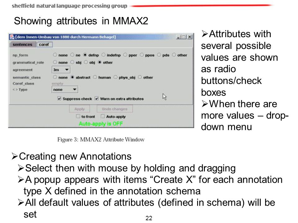 Showing attributes in MMAX2