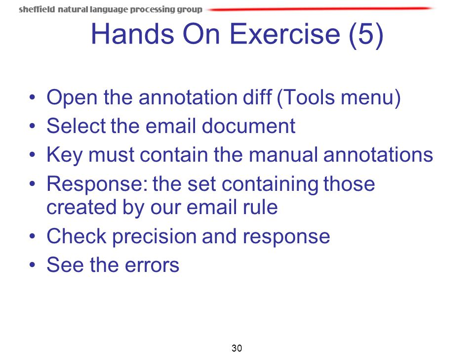 Hands On Exercise (5) Open the annotation diff (Tools menu)