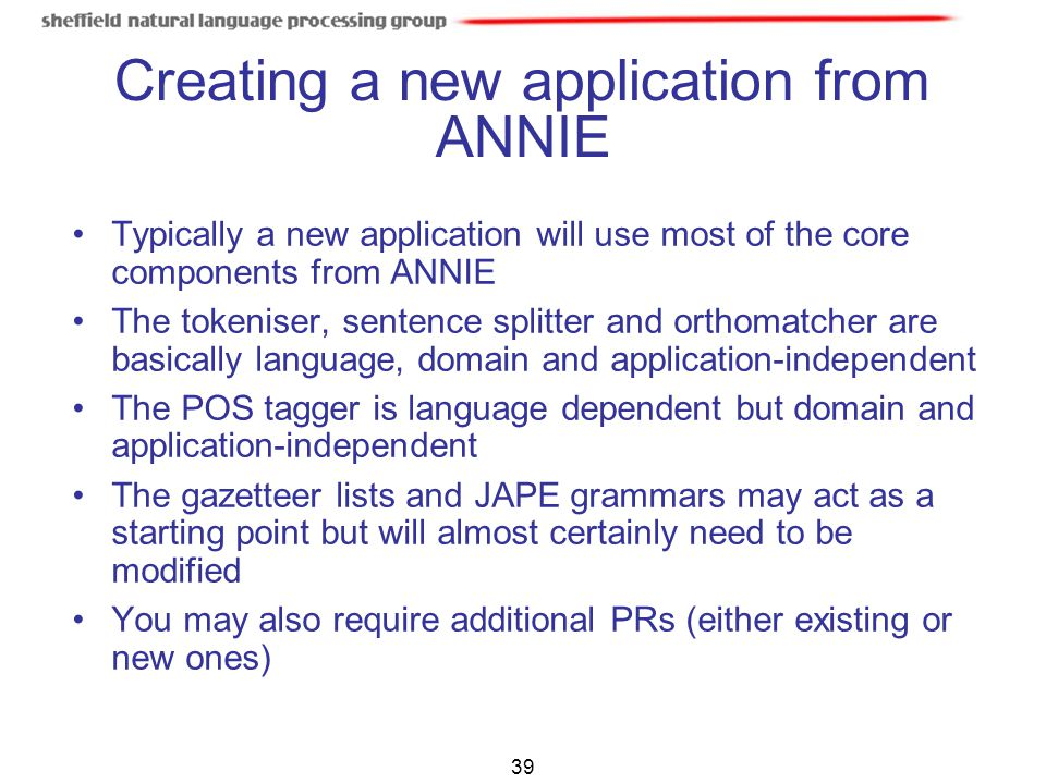 Creating a new application from ANNIE