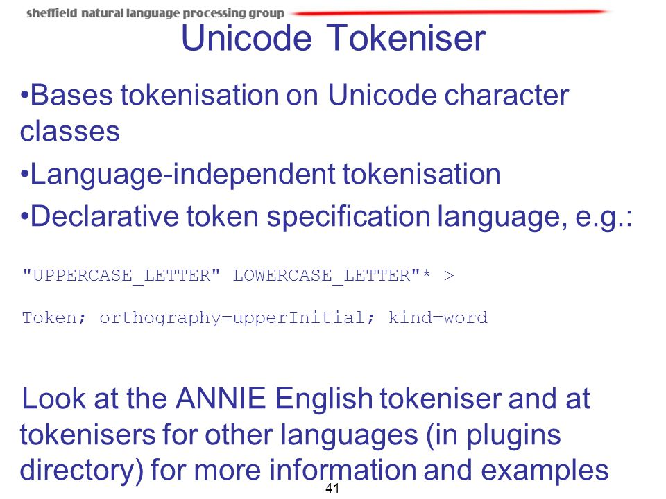 Unicode Tokeniser Bases tokenisation on Unicode character classes