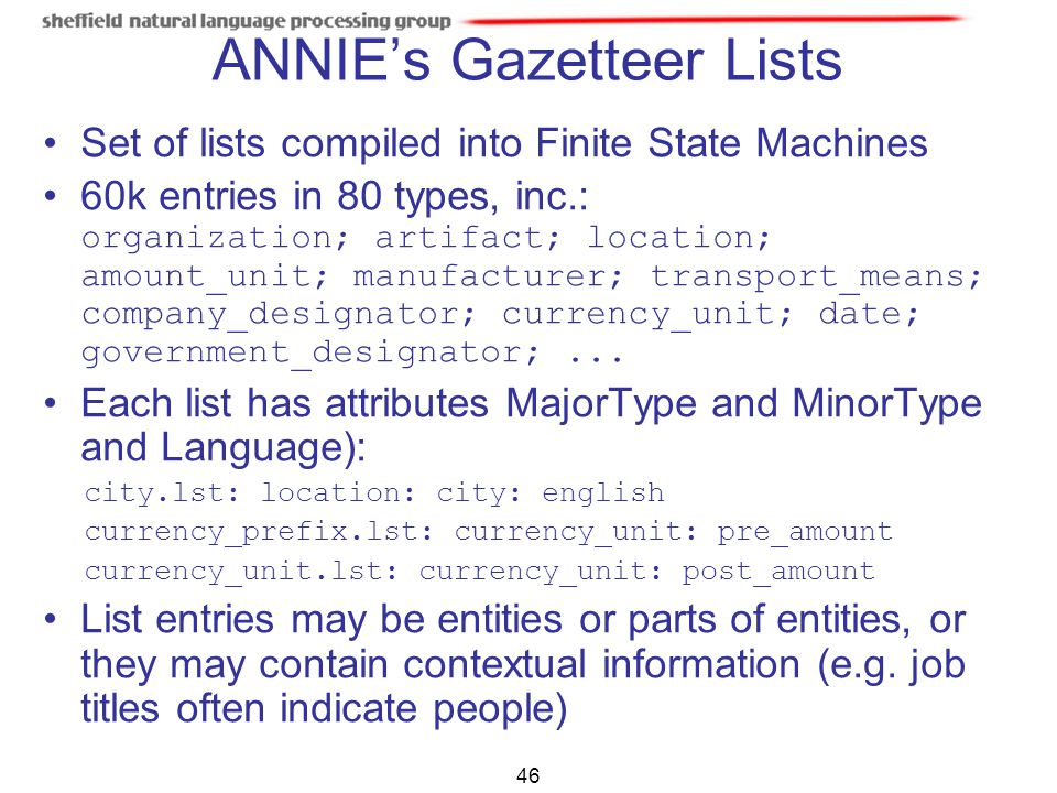 ANNIE's Gazetteer Lists