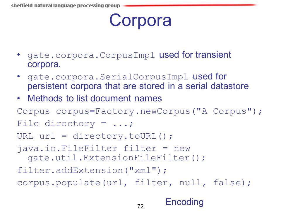 Corpora gate.corpora.CorpusImpl used for transient corpora.