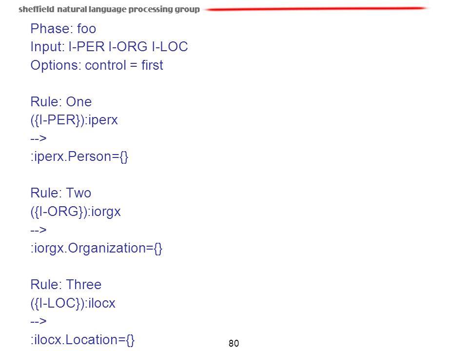Input: I-PER I-ORG I-LOC Options: control = first Rule: One