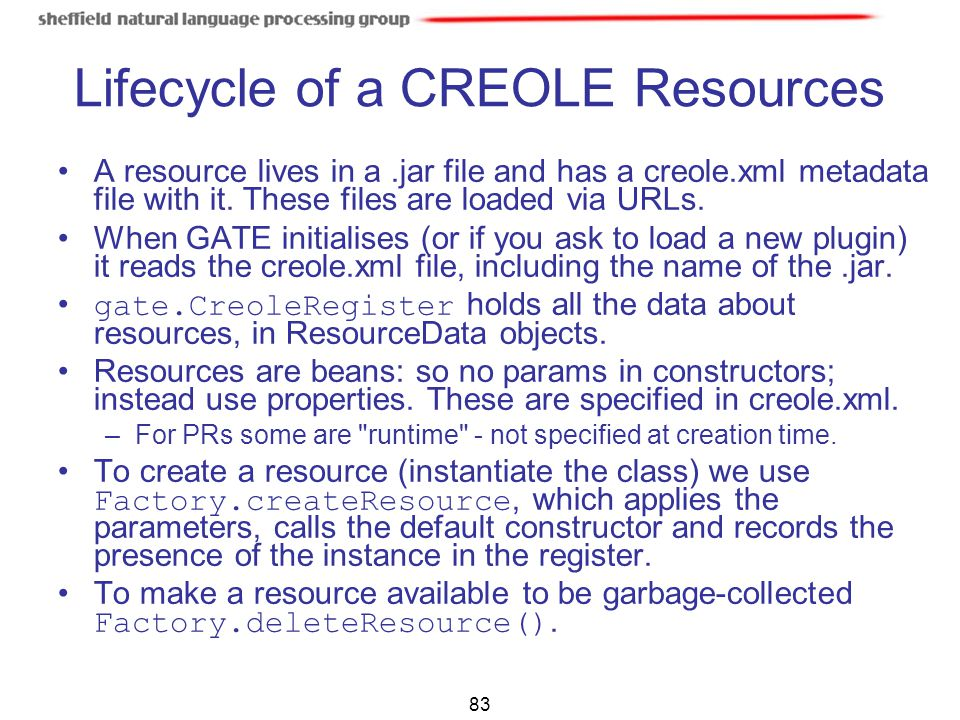 Lifecycle of a CREOLE Resources
