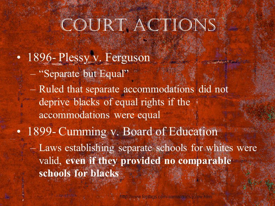 Court Actions 1896- Plessy v. Ferguson