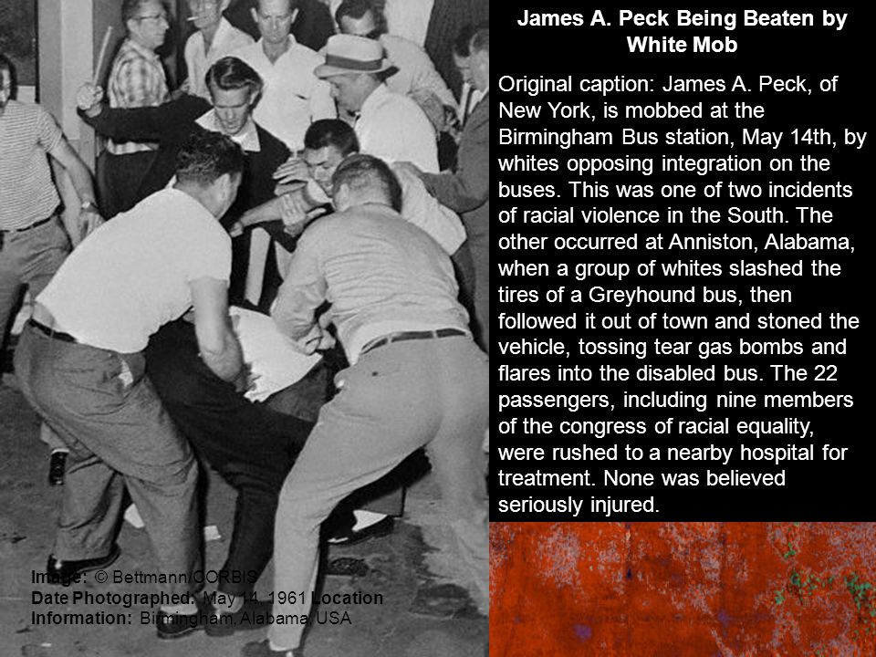James A. Peck Being Beaten by White Mob