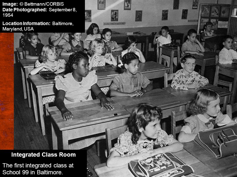 The first integrated class at School 99 in Baltimore.