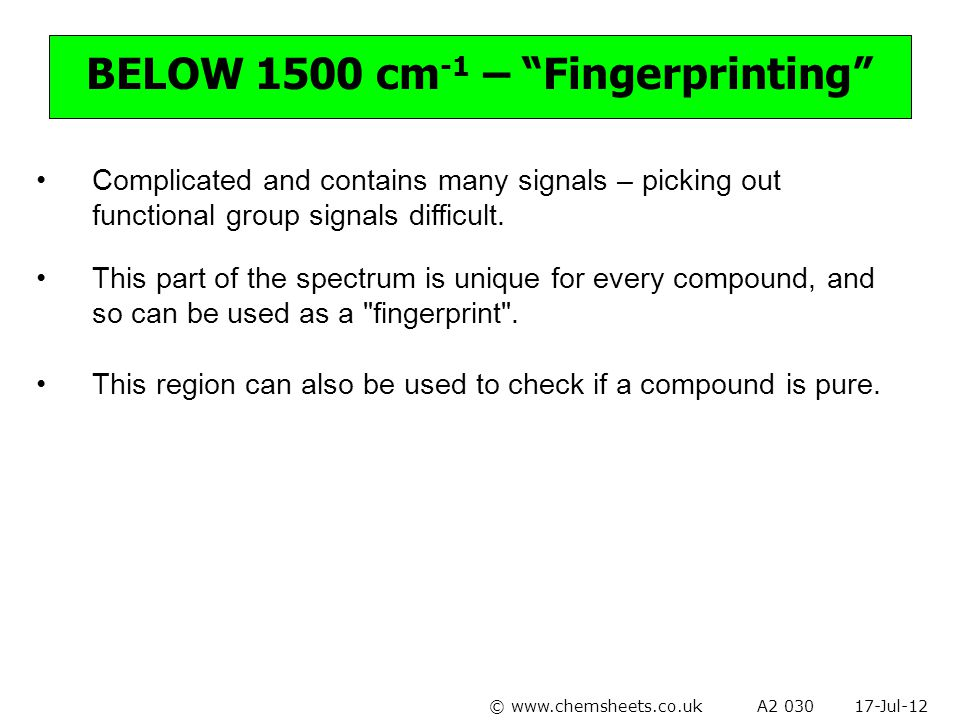 BELOW 1500 cm-1 – Fingerprinting