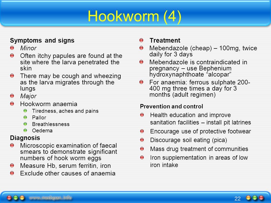 Hookworm (4) Symptoms and signs Minor