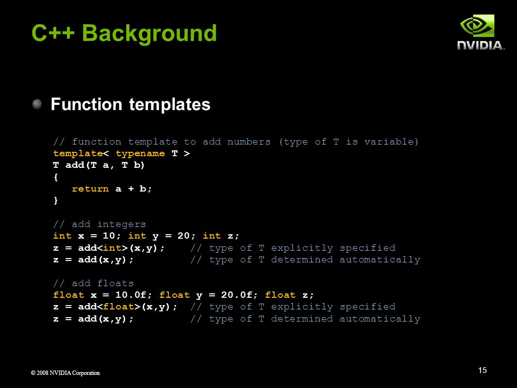 C++ Background Function templates