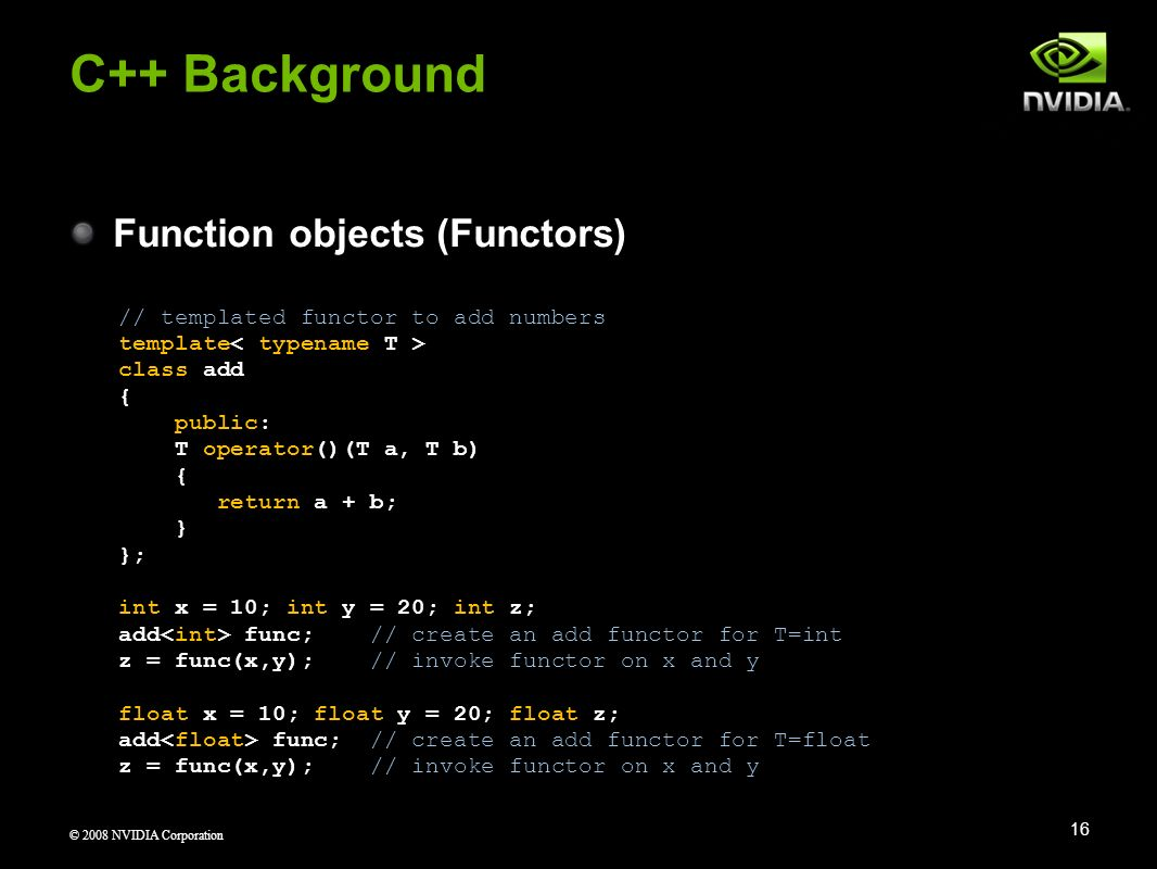 C++ Background Function objects (Functors)