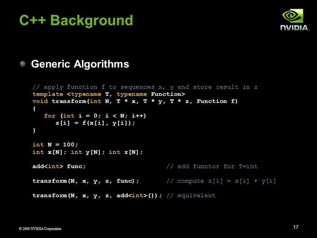 C++ Background Generic Algorithms