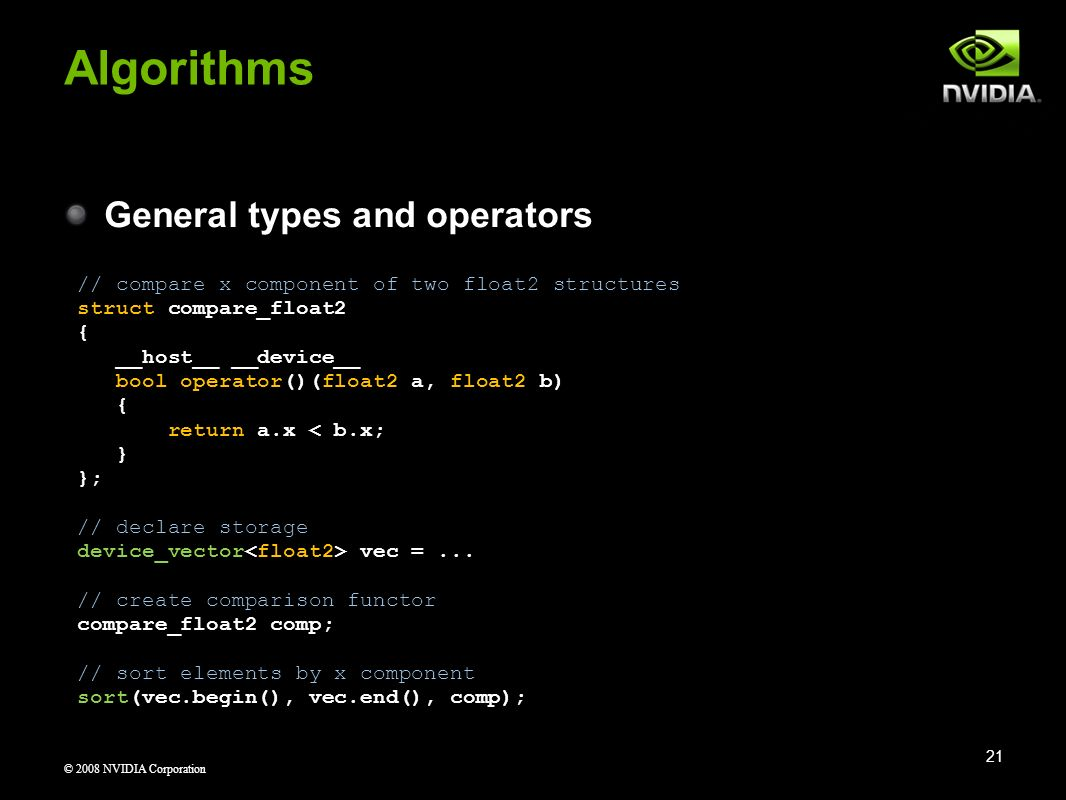 Algorithms General types and operators