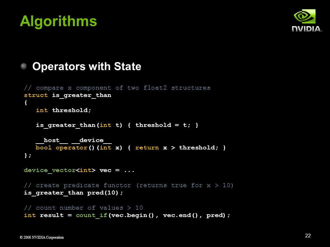 Algorithms Operators with State
